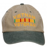 Vietnam Veteran Embroidered Washed Two Tone Cap - Khaki Green