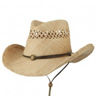Wired Brim Chin Chord Raffia Cowboy Hat - Natural