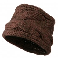 Thick Acrylic Beanie Cap - Brown Pink