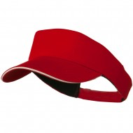 Brushed Cotton Sandwich Visor - Red White