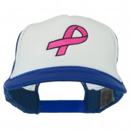 Breast Cancer Logo Embroidered Foam Front Mesh Back Cap - Royal White