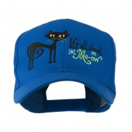 Halloween Black Cat Embroidered Cap - Royal