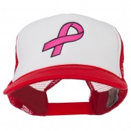 Breast Cancer Logo Embroidered Foam Front Mesh Back Cap - Red White Red