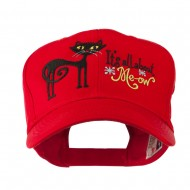 Halloween Black Cat Embroidered Cap - Red