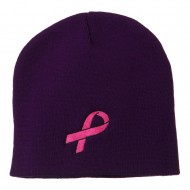 Pink Ribbon Breast Cancer Embroidered Short Beanie - Purple
