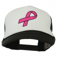 Breast Cancer Logo Embroidered Foam Front Mesh Back Cap - Black White