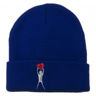 Breast Cancer Body Heart Embroidered Long Beanie - Royal