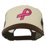 Breast Cancer Logo Embroidered Foam Front Mesh Back Cap - Brown Tan