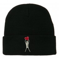 Breast Cancer Body Heart Embroidered Long Beanie - Black