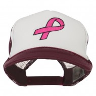 Breast Cancer Logo Embroidered Foam Front Mesh Back Cap - Maroon White