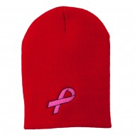 Pink Ribbon Breast Cancer Embroidered Short Beanie - Red