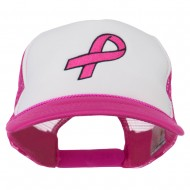 Breast Cancer Logo Embroidered Foam Front Mesh Back Cap - Hot Pink White