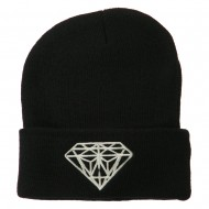 Big Diamond Embroidered Long Beanie - Black