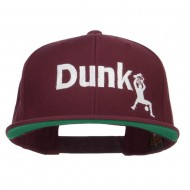 Basketball Dunk Embroidered Snapback Cap - Maroon
