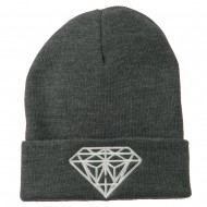 Big Diamond Embroidered Long Beanie - Dk Grey