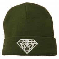 Big Diamond Embroidered Long Beanie - Dk Green