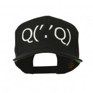 Boxing Face Emoticon Embroidered Snapback Cap - Black