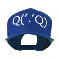 Boxing Face Emoticon Embroidered Snapback Cap - Royal