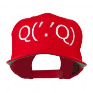 Boxing Face Emoticon Embroidered Snapback Cap - Red
