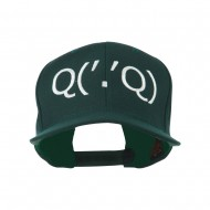 Boxing Face Emoticon Embroidered Snapback Cap - Spruce