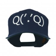 Boxing Face Emoticon Embroidered Snapback Cap - Navy