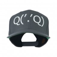 Boxing Face Emoticon Embroidered Snapback Cap - Grey