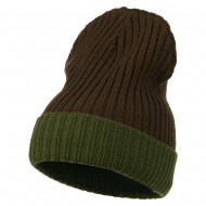 Rib Knit Two Color Cuff Beanie - Brown