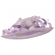 Curly Bow and Flower Sinamay Hat - Lavender