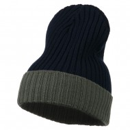Rib Knit Two Color Cuff Beanie - Navy