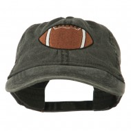 Big Size Football Embroidered Washed Cap - Black
