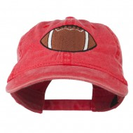 Big Size Football Embroidered Washed Cap - Red