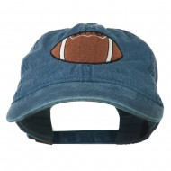 Big Size Football Embroidered Washed Cap - Navy