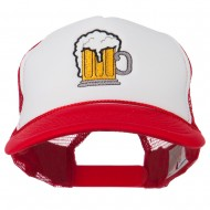Beer Mug Embroidered Foam Mesh Back Cap - Red White