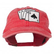 Bridge Hand Embroidered Washed Cap - Red