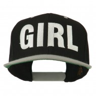 Flat Bill Hip Hop Casual Girl Embroidered Cap - Black Silver