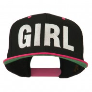 Flat Bill Hip Hop Casual Girl Embroidered Cap - Black Pink