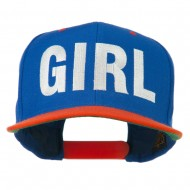 Flat Bill Hip Hop Casual Girl Embroidered Cap - Royal Orange