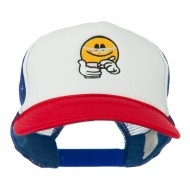 Scribe Smiley Face Embroidered Foam Mesh Back Cap - Red White Royal