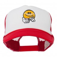 Scribe Smiley Face Embroidered Foam Mesh Back Cap - Red White Red