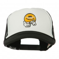 Scribe Smiley Face Embroidered Foam Mesh Back Cap - Black White
