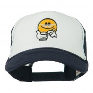 Scribe Smiley Face Embroidered Foam Mesh Back Cap - Navy White