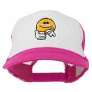 Scribe Smiley Face Embroidered Foam Mesh Back Cap - Hot Pink White