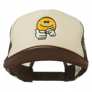 Scribe Smiley Face Embroidered Foam Mesh Back Cap - Brown Tan