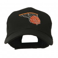 Basketball in Net Embroidered Cap - Black