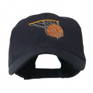 Basketball in Net Embroidered Cap - Navy