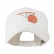 Basketball in Net Embroidered Cap - White