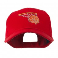 Basketball in Net Embroidered Cap - Red