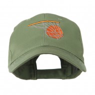 Basketball in Net Embroidered Cap - Olive