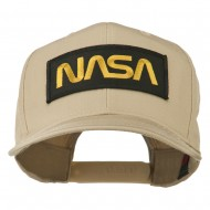 Black NASA Embroidered Patched High Profile Cap - Khaki