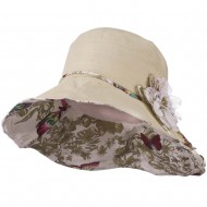 Ladies Butterfly And Lace Flower Hat - Beige